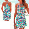 mini Kleid Strandkleid türkis geblümt Gr.42 XL Sommerkleid Jersey sexy Rücken