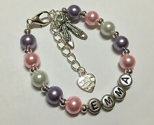 Pink Girls Ballet Shoe Personalised Bracelet Gift