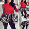 Womens Leopard Hem Print Blouse Ladies Long Sleeve Casual T-Shirt Tunic Tops US