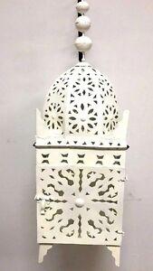 Moroccan Extra Large Hanging Pendant Lantern Rustic Lamp White Enamel Iron XL