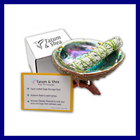 Smudging Kit W Abalone Shell Wooden Tripod WHITE Sage Smudge Stick. Full Size