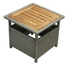 Beistelltisch Kaffeetisch Gartenmöbel Tisch Gartentisch TRENTO Rattan grau Holz