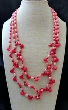 "Jay King Pink and Red Bamboo Sea Coral 3 Strand 20"" Sterling Silver Necklace NWT"