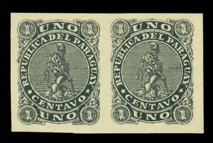 PARAGUAY 1881 LION  1c black Sc# 14  imperf. PAIR - PROOF/ESSAY unadopted colour