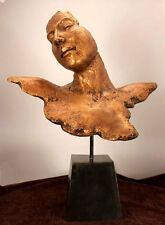 Modern Art Abstract Sculpture Lady Mask Elegant Real Bronze Polished wood base