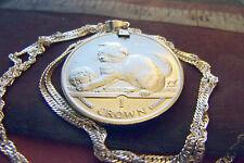 "2000 Scottish Fold Kitten Crown Coin Pendant on a 30"" Italian Silver Wavy Chain"
