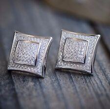 White Hip Hop Square Sterling Silver Men's Screw Back Earrings
