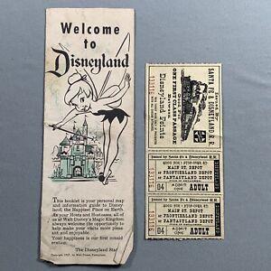 Vtg 1957 Welcome Guide To Disneyland Brochure & Ticket