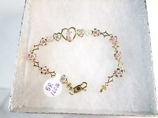 14k Virgen de Guadalupe bracelet with hearts and round stones