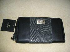 BNWT black/grey LLoyd Baker London leather purse.  Free UK P&P.