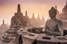 STUNNING BUDDHIST TEMPLE SUNSET CANVAS PICTURE #245 SPIRITUAL WALL ART HANGING