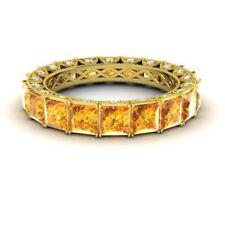 4.40 Ct Genuine Diamond Citrine Wedding Band 14K Real Yellow Gold Ring Size 5 6