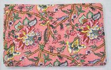 Floral Kantha Quilt Indian Handmade Pink Twin Cotton Bedspread Coverlet Duvet