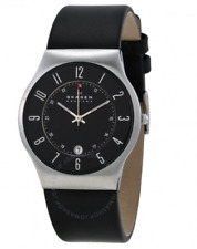 SKAGEN 233XXLSLB Mens/Gents BLACK LEATHER Watch with DATE  *NEW*
