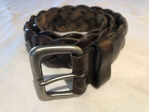 AMERICAN EAGLE Men's Genuine Leather Brown Braided Belt Size 30
