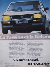 PUBLICITÉ 1983 PEUGEOT 505 TURBO DIESEL LA PASSION ET LA RAISON - ADVERTISING