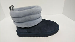 UGG Fluff Mini Quilted Boots, Navy, Women's 7 M