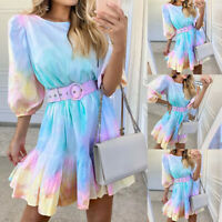 ❤️ Womens Tie Dye 3/4 Sleeve Swing Dress Ladies Casual Ruffle Rainbow Mini Dress