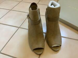 Marc Fisher Suede Peep Toe Ankle Booties Sz 9 NIB! Ash Camel