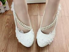 Decolté decolte scarpe donna ballerina bianco perle sposa 3.5, 4.5 8 11 cm 9336
