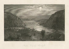 Harper's Ferry by Moonlight by C. Perkins, Vintage 1873 Antique Art Print