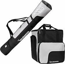 BRUBAKER Combo Ski Bag and Ski Boot Bag Black Silver 190cm Padded Shoulder Strap