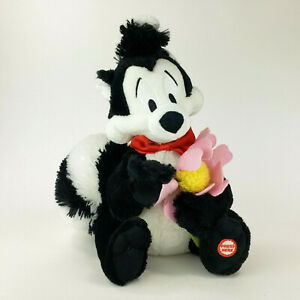 "Hallmark Pepe Le Pew Plush 10"" Skunk w/ Flower Looney Tunes"