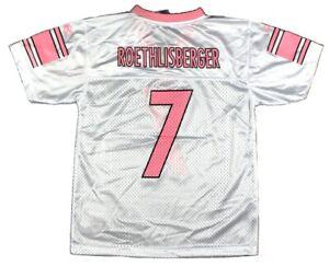 Ben Roethlisberger Reebok Steelers White/Pink Girls Replica Jersey