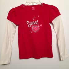 """Long Sleeve """"Sweet"""" with Heart T-Shirt Shirt Girls Size 8 Gymboree Red and White"""