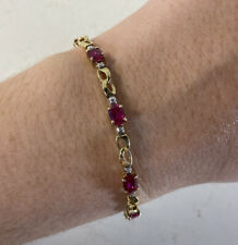 "10k Gold Ruby Tennis Bracelet (6.75"")"