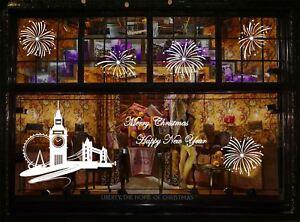 Large New Year Firework London Skyline Christmas Shop Window Wall Sticker