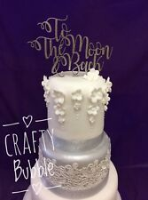Hand made silver to the moon and back cake topper wedding