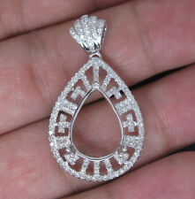 Pear 9×13mm Solid 14Kt White Gold Natural Diamond Semi Mount Engagement Pendant