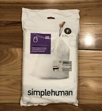 Code F 20 Ct Simplehuman Custom Fit Trash Bags Can Liners Refill Size White Pack