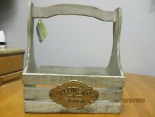 New Decorative Wood Crate with Wood Handle Flowers & Garden Plaque Home Decor