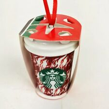 2018 Starbucks Houndstooth Flame Red White Cup Holiday Christmas Tree Ornament