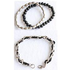 Set of 3 Bracelets Wooden Beaded Elasticated Silver Metal Black Suede Beltcher