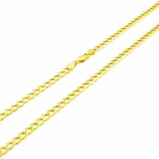 REAL 14K Yellow Gold Pure 3.5MM 24in Cuban Curb Link Chain Pendant Necklace- 24""