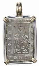 """Japan, 1 bu (ichi-bu gin, """"samurai coin"""") mid-1800s, silver and 14k gold pendant"""