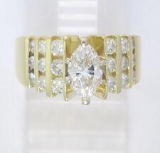18k Yellow Gold Marquise & Round Diamond Engagement Ring 1.70ct 10.2g