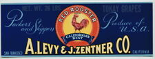 RED ROOSTER Vintage Tokay Grape Crate Label Chicken s, **AN ORIGINAL LABEL**