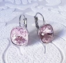 Rosaline Light Pink Leverback Drop Earrings w/ Cushion Cut Swarovski Crystal