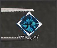 Natürlicher Diamant im Prinzess Schliff mit 0,25 ct inkl. Zertifikat, Blau / VS