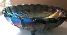 Indiana Carnival Glass Harvest Blue Grape Pattern Oval Bowl Iridescent Mid Cent