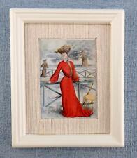Maison de Poupées Femme en Rouge Peinture Cadre Blanc Image Accessoire Miniature