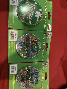 3 St Patrick's Day Buttons New Irish For A Day