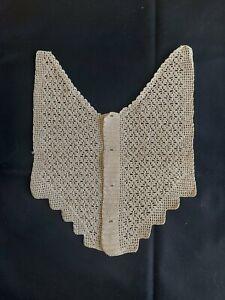 Antique Beautiful Vintage Handmade Crochet Lace ornament Cotton Beige