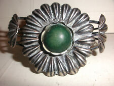 silver green stone cuff bracelet Antique large circa 1930`s Mexican sterling