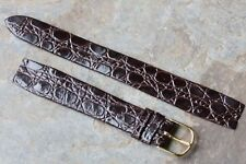 Crocodile grain leather 16mm open-ended vintage watch strap gold-tone buckle