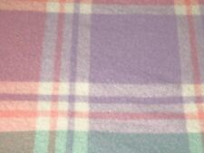 "Verificación de lana australiana Vintage Manta/Cobertor-Rosa Verde Púrpura 83"" X 62"""